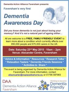 Dementia Awareness Day, Sat 23 May 2015
